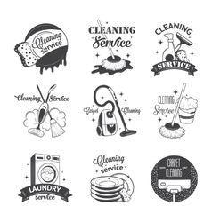 Set vintage logos labels and badges cleaning vector