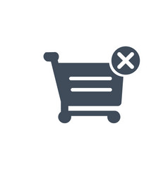 shopping cart with cross sign icon filled flat vector image