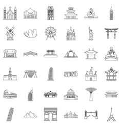 Showplace icons set outline style vector
