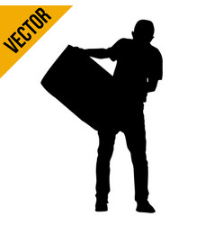 silhouette man carrying a box vector image