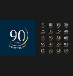Silver and golden anniversary celebration emblem vector