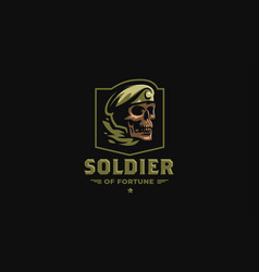 Skull in a military beret vector