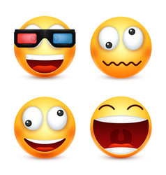 Smiley with 3d glassessmiling emoticon yellow vector