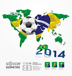 Soccer ball Geometric on Flag of Brazil 2014 vector image
