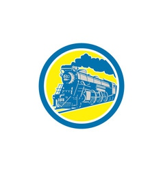 steam train locomotive circle retro vector image