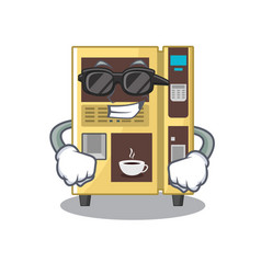 Super cool coffee vending machine with cartoon vector