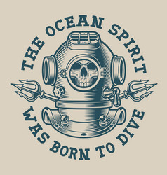t-shirt design with a diver helmet vector image