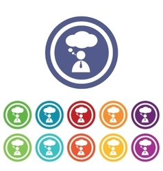 Thinking person signs colored set vector image