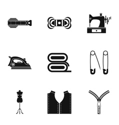 Tools for sewing dresses icons set simple style vector image