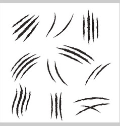 Torn material scratches monster animal claws set vector