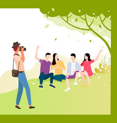 tourist makes photo friends together under tree vector image