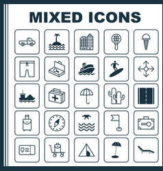 Travel icons set collection of vehicle car vector