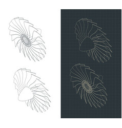 Turbine blades isometric drawings vector