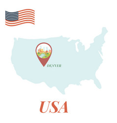 usa map with denver pin travel concept vector image