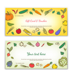 vegetables cute banner background template vector image