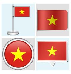 Vietnam flag - sticker button label flagstaff vector
