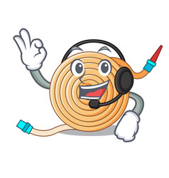 With headphone the water hose mascot vector
