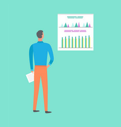 Worker researching charts back view man vector