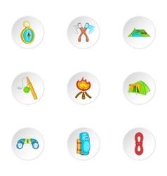 Camp icons set cartoon style vector