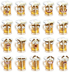 cute series of smiles beer vector image vector image