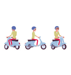 handsome young man riding a scooter vector image