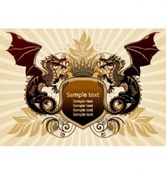 heraldic sign with dragon vector image vector image