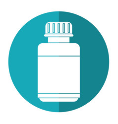 Medicine bottle capsule icon shadow vector