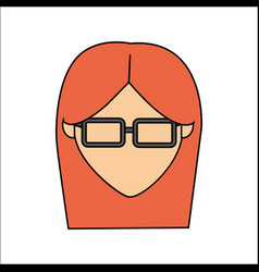 people avatar face woman with glasses icon vector image vector image