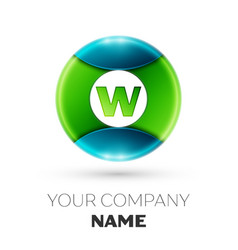 realistic letter w logo symbol in colorful circle vector image