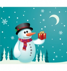 snowman with a gift vector image vector image