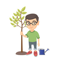 caucasian smiling boy in glasses planting a tree vector image