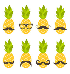Cute pineapples with sunglasses isolated on white vector