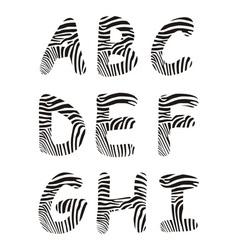 Font zebra letter A -I vector image vector image