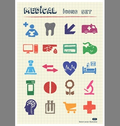 Medical and human web icons set vector image vector image