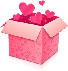 Ornate open box with rose paper hearts inside vector image vector image