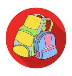 Pair of travel backpacks icon in flat style vector image vector image