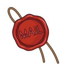 Wax sealmail and postman single icon in cartoon vector