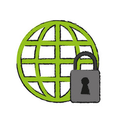 web protection padlock vector image