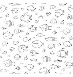 Cartoon Seamless Pattern Funny Childish Fish Black vector image
