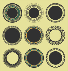 collection of round decorative border frames vector image