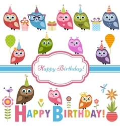 Cute owlets and owls on Birthday party vector image vector image