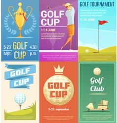 Golf Club 6 Retro Posters Set vector image