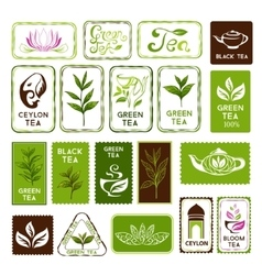 Green and black tea stamps vector image vector image