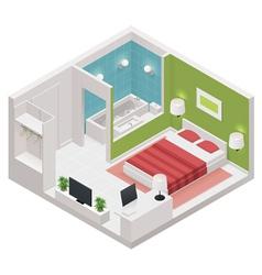 isometric hotel room icon vector image vector image