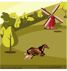 rural landscape with grazing horses vector image