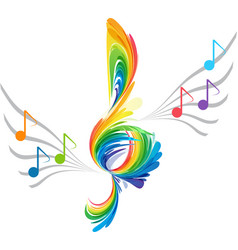 splash treble clef and musical note vector image vector image
