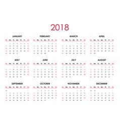 The 2018 calendar vector