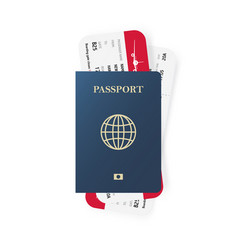 blue passport and boarding pass tickets realistic vector image vector image