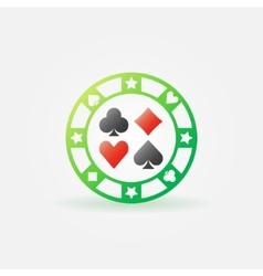 Casino green chip icon vector image vector image