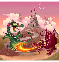 Funny dragons in a fantasy landscape with castle vector image vector image